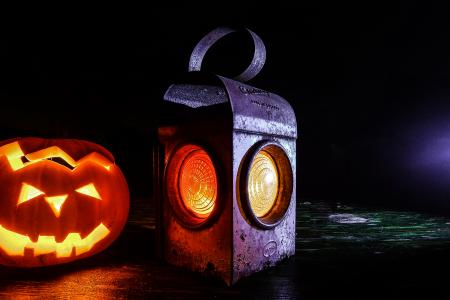 Halloween carved pumpkin and lantern