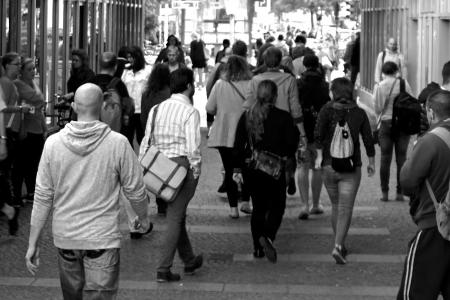 People walking in a crowd